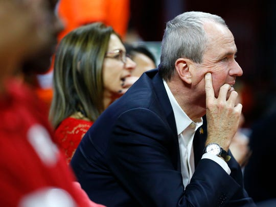 New Jersey governor Phil Murphy watches game between