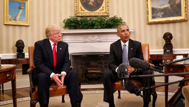 Barack Obama and Donald Trump in the Oval Office on Nov. 14, 2016.