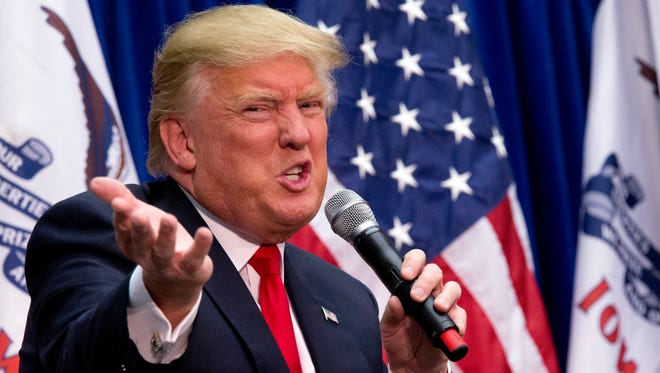Donald Trump speaks during a campaign event at the Roundhouse Gymnasium on Jan. 26, 2016, in Marshalltown, Iowa.