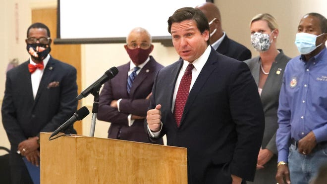Florida Governor Ron DeSantis visits Bethune-Cookman University, Wednesday July 1, 2020 speaking about the funding in the budget for Historic Black Colleges and Universities with several college presidents, elected officials at Bethune-Cookman University in Daytona Beach.