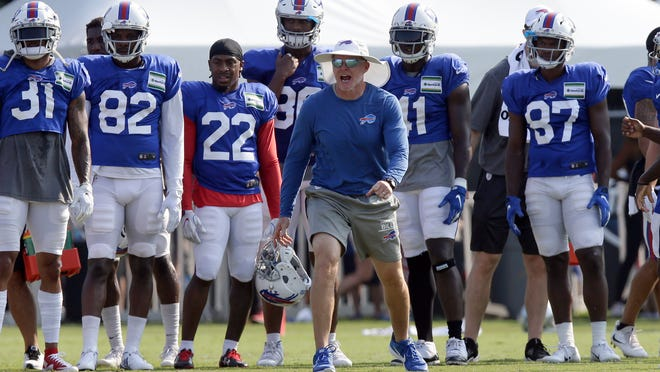 FILE - In this Aug 13, 2019, file photo, Buffalo Bills coach Sean McDermott yells during the team's NFL football training camp with the Carolina Panthers in Spartanburg, S.C. NFL general managers and coaches, and those who assist them, work within a highly competitive culture. Putting in extremely long hours is simply understood as part of the job. Unless, there's a pandemic.