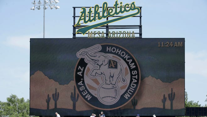 Hohokam Stadium in Mesa is the spring training home of the Oakland Athletics.