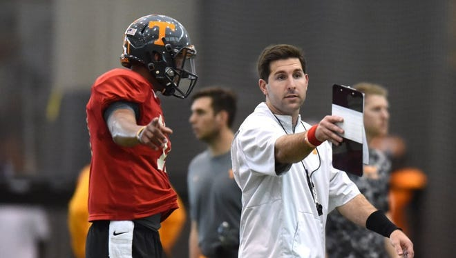 FILE — Nick Sheridan, right, a former Tennessee offensive quality control coach, will be IU's new quarterbacks coach.
