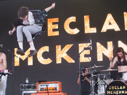 Declan McKenna perform on the Mojave tent at the 2018