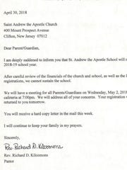 The email sent Monday to parents of students at St. Andrew the Apostle school in Clifton.