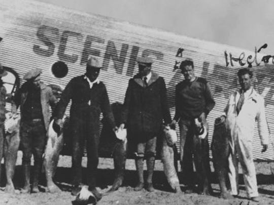 1928: New airport's first flight-Scenic Airways Inc. purchases land in the middle of the desert and builds a new airport named Sky Harbor. | First flight out of Sky Harbor in 1928.