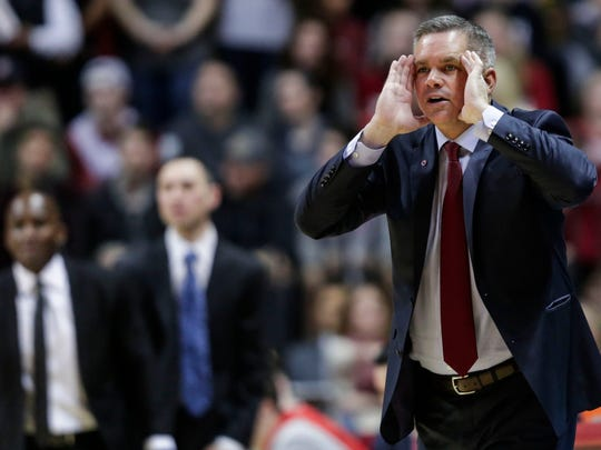Ohio State head coach Chris Holtmann, shown here during an NCAA game against Indiana in February, will talk about his faith at the Lakeside Prayer Breakfast and Luncheon on Aug. 2.