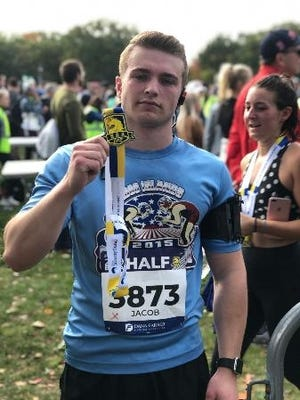 Jake Caron ran the virutal Boston Marathon this year in memory of his late grandmother and grandfather.