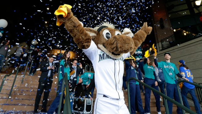 Moose, the Seattle Mariners mascot, welcomes the first fans through the gates as confetti flies behind him before an opening day baseball game between the Seattle Mariners and the Los Angeles Angels, Monday, April 6, 2015, in Seattle. (AP Photo/Ted S. Warren)