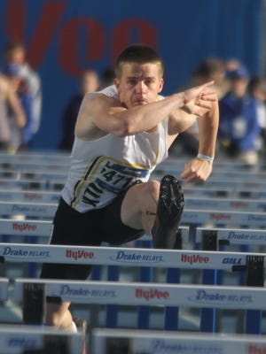 Southeast Polk senior Jace Christensen runs in a 110-meter hurdle preliminary April 26 at the Drake Relays.