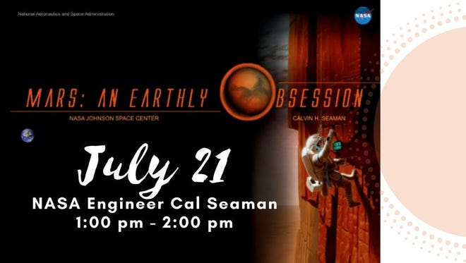 Calvin Seaman, a NASA engineer will speak July 21 at two events 1 p.m. and 3 p.m. at the Kemp Center for the Arts.