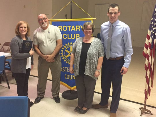 Ann Mushendwa and Donna Creager, director and assistant director for York County's Court Appointed Special Advocates program, visited the Rotary Club of Eastern York County in 2018 to discuss the CASA program. From left are Creager, Club President Chris Leiphart, Mushendwa and Rotarian Bill Dress. Submitted.