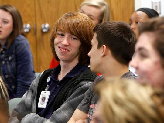 Northland CAPS medicine and healthcare student Seth Gorham, 18, listens to a guest lecture at North Kansas City hospital on March 11, 2015.