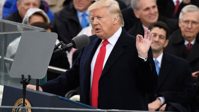 President Donald Trump speaks during the 2017 Presidential Inauguration at the U.S. Capitol.