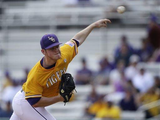 LSU pitcher Jared Poche' (16) is expected to pitch Game 2 against UL Lafayette.