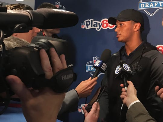 Former Notre Dame quarterback DeShone Kizer speaks on the day before the NFL Draft at an NFL Play 60 charity event at Shriners Hospital in Philadelphia.