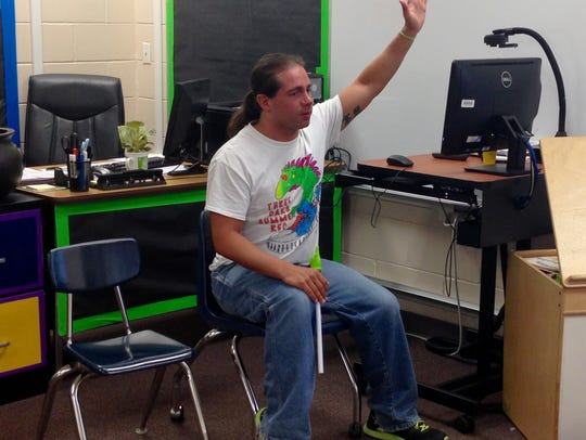Stephen Damico is one of two male kindergarten teachers