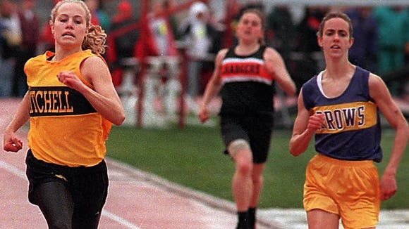 Mitchell's Jill Theeler was a multi-sport athlete who thrived in track, setting state records in the 100, 200 and 400 in high school before winning a national indoor title at NDSU.