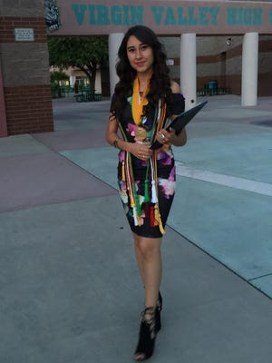Emmy Moreno on her graduation day at Virgin Valley High School in June 2016.