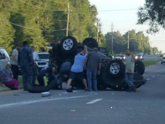 A Jeep Wrangler rolled over after a crash Wednesday,