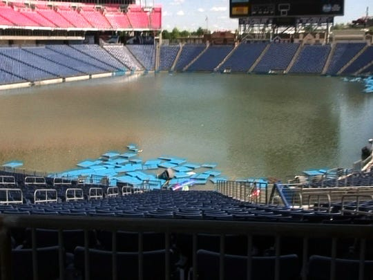 LP Field filling with water Monday, May 3, 2010.