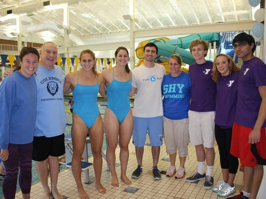 (left to right) Somerset Hills YMCA Swim Team Coach and former Saturdays in Motion volunteer Cathleen Keating of Chatham, SIM Founder Art Raynes of Basking Ridge, Columbia University swimmer and former SIM Fundraiser co-chair Celia Frick of Mendham, Columbia swimmer Christina Ray of Alamo, CA, former Columbia Men's Swim team captain and former SIM volunteer Stephen Raynes of New York and SHY Swim Team Head Coach Lori Reigler of Bridgewater with this year's co-organizers Ryan Buchser of Chatham, Mary Laurita of Mendham and Raveesh Koul of Basking Ridge.