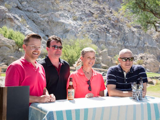 """It's a Dry Heat"" episode on ""Top Chef"" filmed at PGA West in La Quinta. Pictured: (l-r) Richard Blais, Douglas Keane, Mary Sue Milliken, Tom Colicchio."