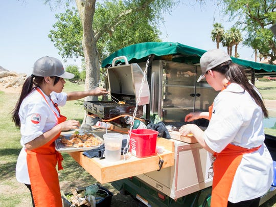 """It's a Dry Heat"" episode of ""Top Chef"" filmed at PGA West in La Quinta. Chef contestant  Angelina Bastidas on left."