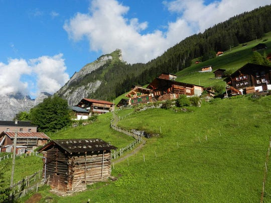 The little village of Gimmelwald, high in the Swiss