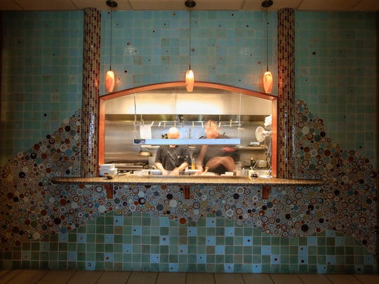 Looking into the kitchen at Warfield's bistro.