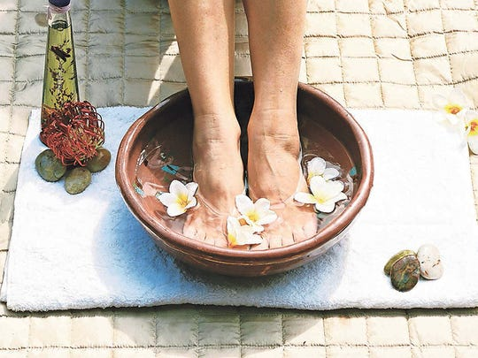 Treat your feet to a relaxing soak after practicing yoga.