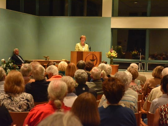 """Dr. Judith Gates talks about gender inequality during the 2015 """"Progressive Voices Speak Out"""" speaker series at the Unitarian Universalist Congregation of Greater Naples."""