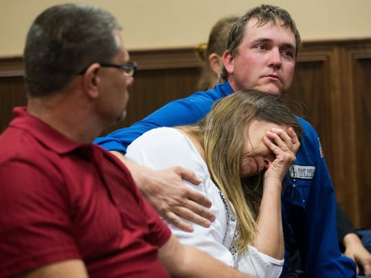 Courtney Hayden's family reacts as 28th District Judge Nanette Hasette grants Hayden a new murder trial in 2016.