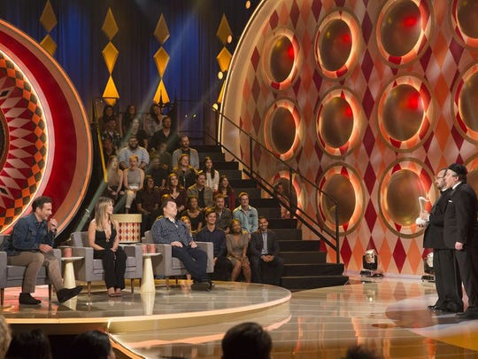 """On the set of """"The Gong Show,"""" from left: Will Arnett, Jennifer Aniston, Jack Black, Michael Connolly and """"Tommy Maitland."""""""
