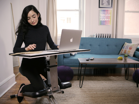Edge Desk, the Kickstarter hit that comes fully assembled, flat in the box, then folds up like a stroller into several different positions for an instant workspace anytime, anywhere.