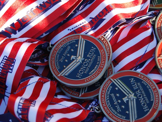 Here are the medals awarded to runners of the second annual Honor Run half marathon held Nov. 15, 2015, in Florence.