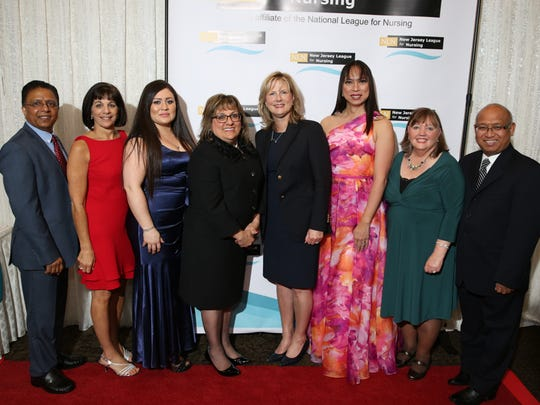 From left: John Indarjit, Vittoria Pontieri-Lewis, Mayra Navarro, Mary Beth Russell, Nancy Holecek, Jackie Baras, Catherine Lubliner and Danilo Bolima at the 2017 Nurse Recognition Awards Gala.