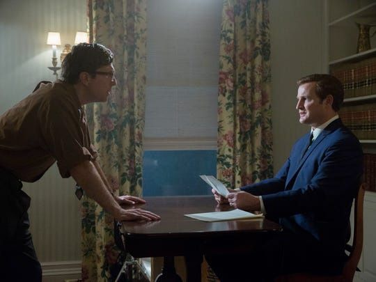 """""""Chappaquiddick"""" unfolds with all the emotion and intensity of a thriller. In this scene, Ted Kennedy (Jason Clarke) is being prepped by attorney Paul Markham (Jim Gaffigan) to appear on television and explain how Mary Jo Kopechne ended up dead in the waters off Martha's Vineyard. Filmmaker Mark Ciardi said he has not received any feedback from the Kennedy family, but relatives of the Kopechne family who prescreened the film were happy with Mary Jo's portrayal."""