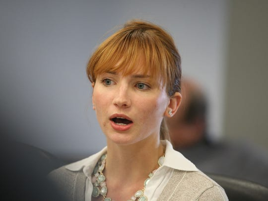 Zoe Everett speaks during her lawsuit settlement in State Superior Court, Morristown.
