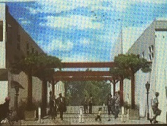 Rendering shows proposed Theatre Avenue pocket park