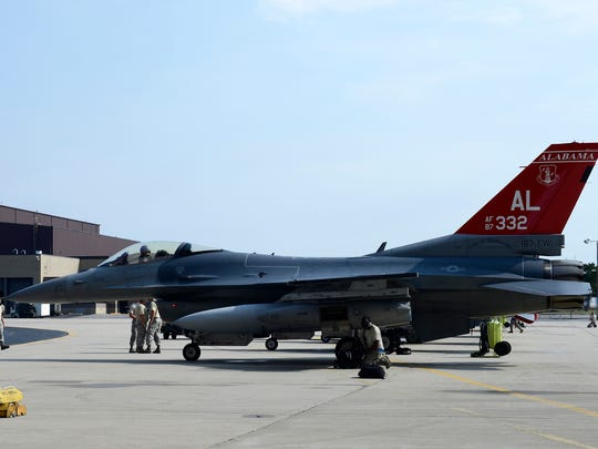 An F-16 jet of the Fighting Falcons from the 100th