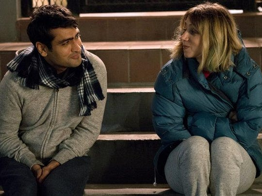 "Kumail Nanjiani, left, and Zoe Kazan play new lovers in the romcom-drama ""The Big Sick,"" opening Friday."