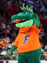 Florida's mascot, Albert Gator, performs during the