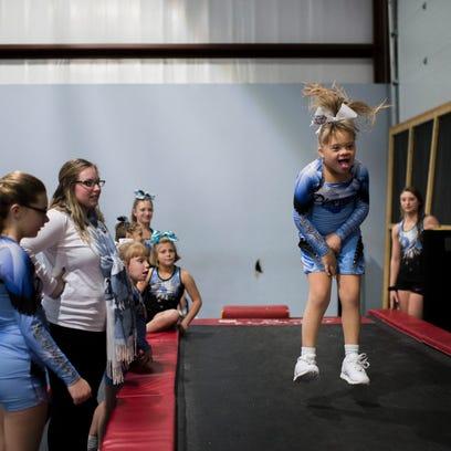 Precious Gems' Geeanna Beale, 8, makes her way down