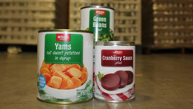 WinCo Food donated enough canned green beans, yams and cranberry sauce for 11,000 meals.