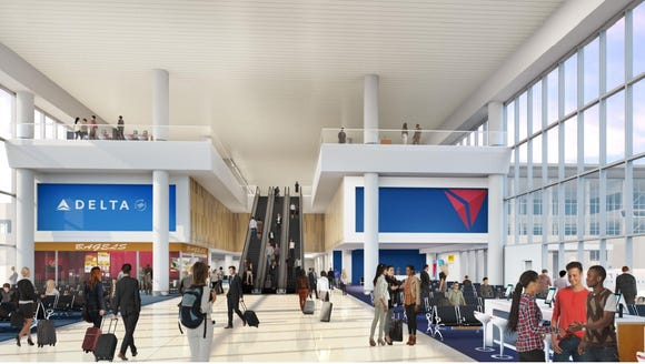 """Interior view of Delta's """"Eastern Half"""" of the new"""