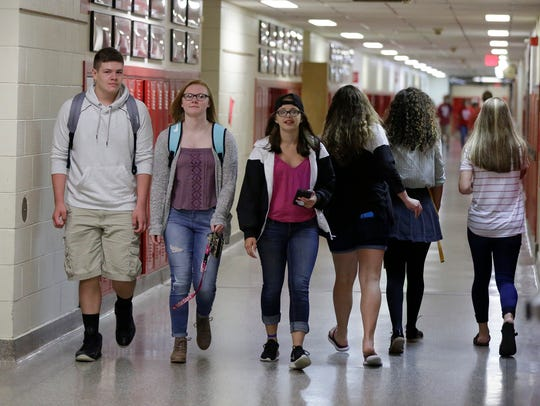 Students walk to their classes at Sheboygan South High