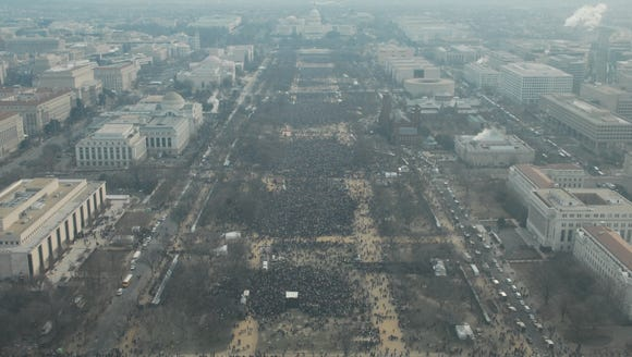 A National Park Service photo of the crowd from President