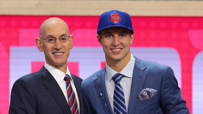 Duke's Luke Kennard is introduced by NBA commissioner Adam Silver as the No. 12 overall pick to the Pistons in the first round of the 2017 NBA draft at Barclays Center.