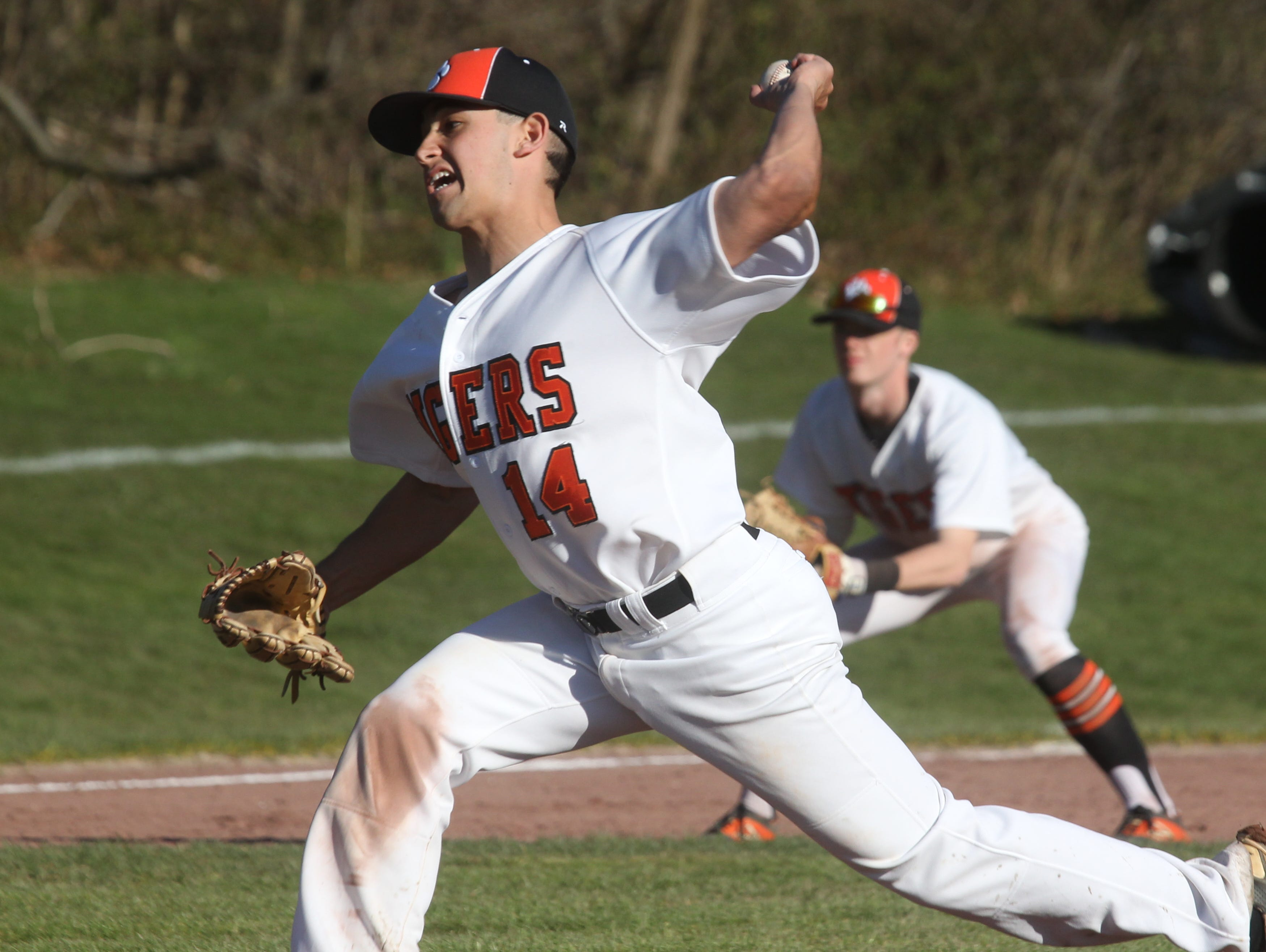 White Plains' Danny Lotito delivers a pitch during a game with Scarsdale at White Plains April 12, 2016. White Plains won 7-0.